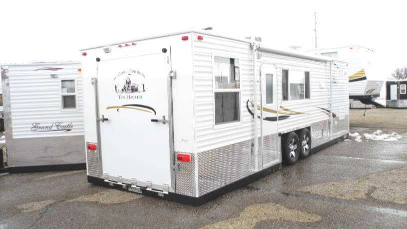 Toy hauler rv fish house trailers in minnesota for Toy hauler fish house