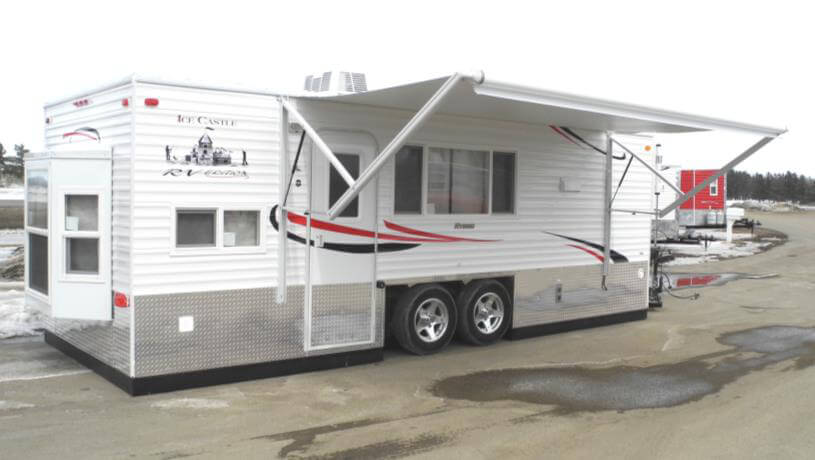 Rv edition hybrid fish house trailers in minnesota for Fish house rv