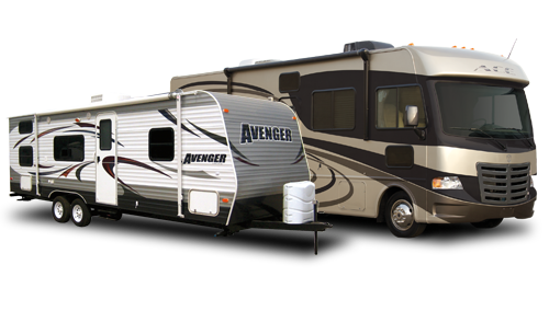 A travel trailer and motorhome