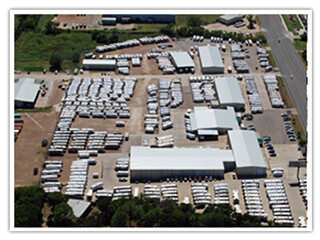aerial of travel trailers for sale