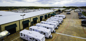 aerial image of travel trailers for sale