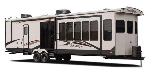 Sandpiper Destination Trailers Stock Photo