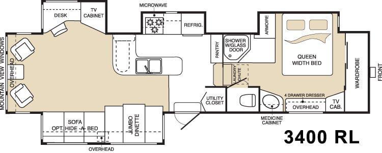 Floorplan - 2004 Keystone RV Montana 3400RL