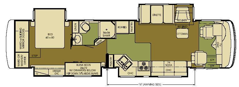 Floorplan - 2008 Newmar Ventana VTDP 3942