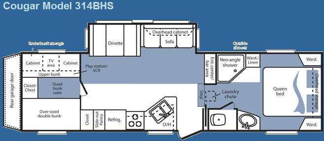 Floorplan - 2008 Keystone RV Cougar 314BHS