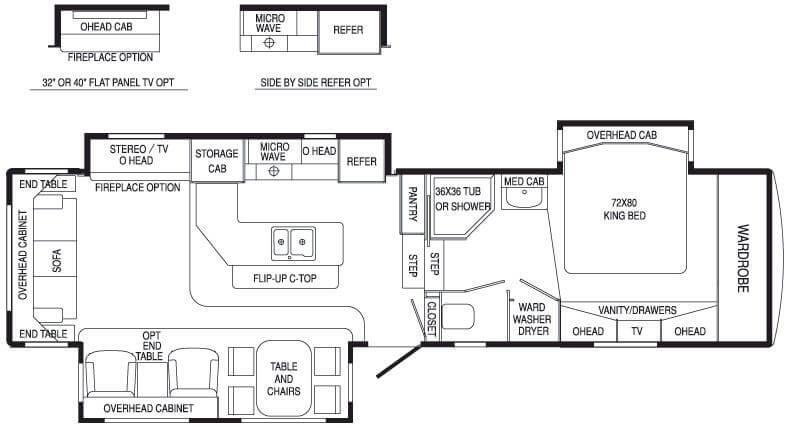 Floorplan - 2007 DRV Luxury Suites Mobile Suites 36 TK3