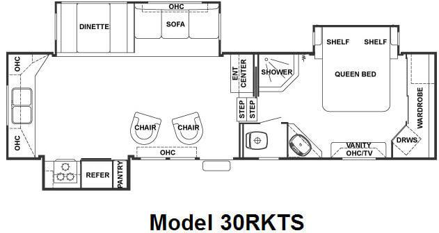 Floorplan - 2008 Forest River RV Cedar Creek 30RKTS