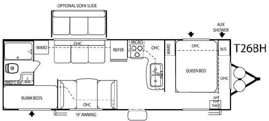 Floorplan - 2007 Forest River RV Salem T26BH