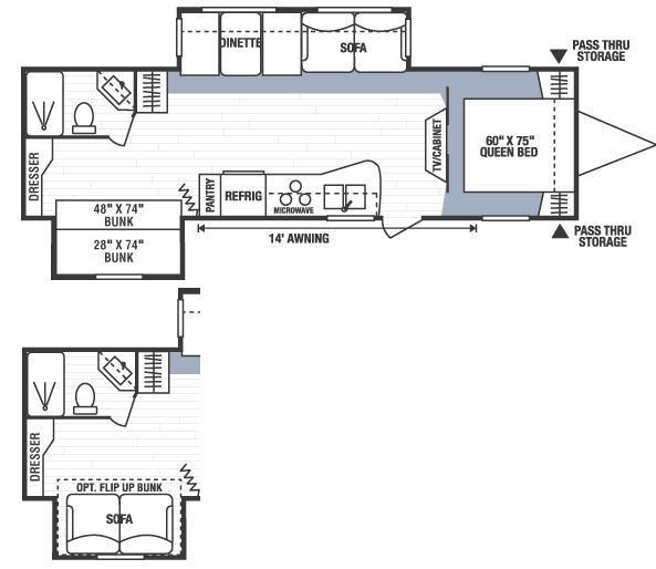 Floorplan - 2008 KZ Spree 318BHS