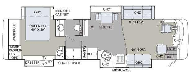 Floorplan - 2008 Holiday Rambler Ambassador 38 PDQ
