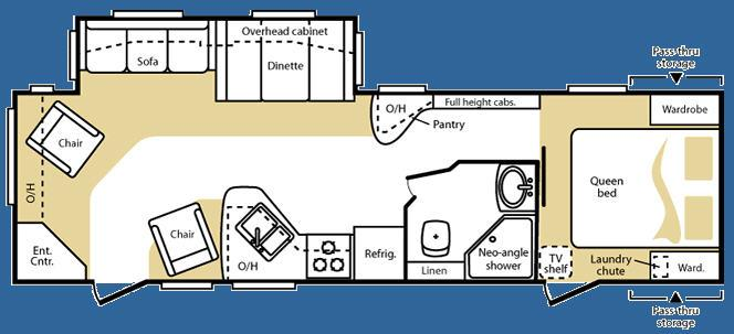 Floorplan - 2008 Keystone RV Cougar X-lite 29RLS