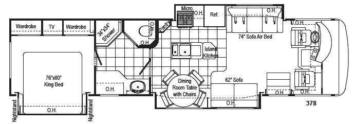 Floorplan - 2008 Damon Challenger 378