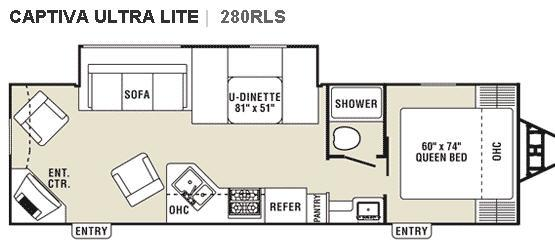 Floorplan - 2008 Coachmen RV Captiva Ultra Lite 280RLS