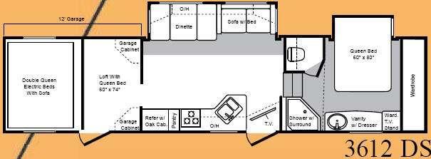 Floorplan - 2008 Keystone RV Raptor 3612DS