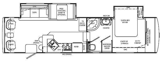 Floorplan - 2009 Holiday Rambler Alumascape Suite 32 SKD