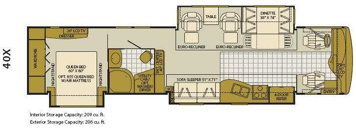Floorplan - 2008 Fleetwood RV Excursion 40X