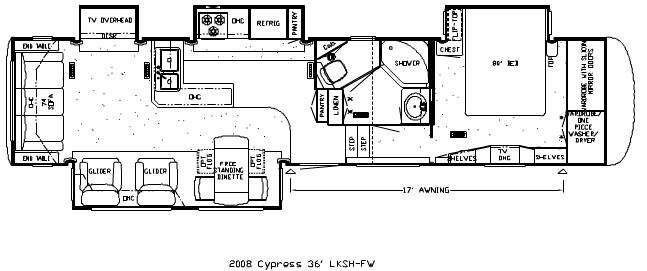Floorplan - 2008 Newmar Cypress CPFW 36LKSH