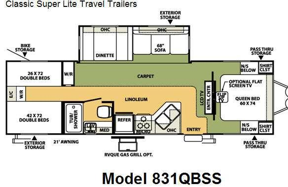 Floorplan - 2008 Forest River RV Flagstaff Classic Super Lite 831QBSS