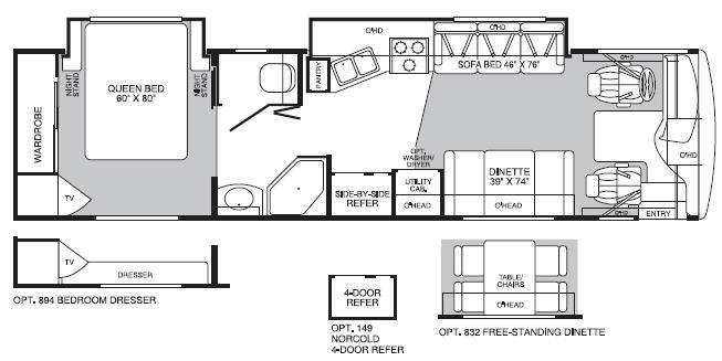 Floorplan - 2004 Fleetwood RV Bounder Diesel 34M