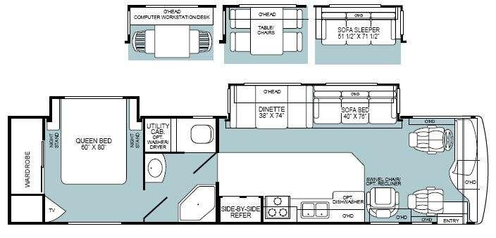 Floorplan - 2002 Fleetwood RV Discovery 37T