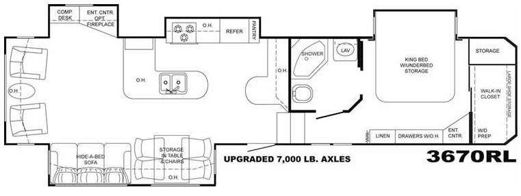 Floorplan - 2009 Heartland Bighorn 3670RL