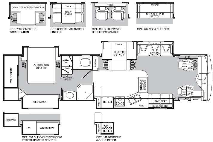 Floorplan - 2004 Fleetwood RV Discovery 39L