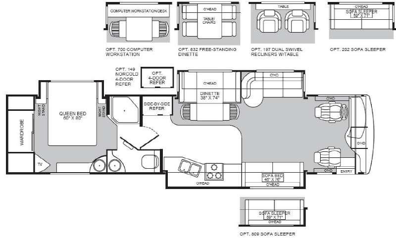 Floorplan - 2004 Fleetwood RV Discovery 39S