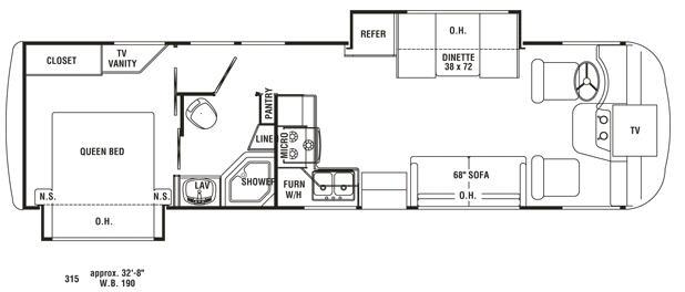 Floorplan - 2008 Holiday Rambler Arista 315