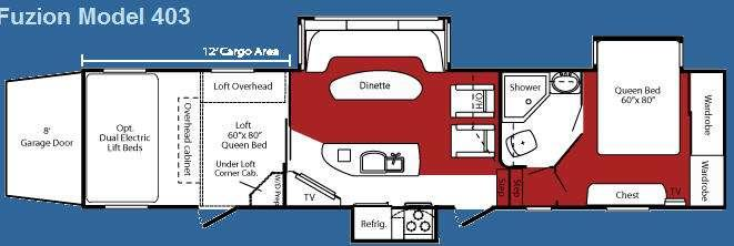 Floorplan - 2009 Keystone RV Fuzion 403