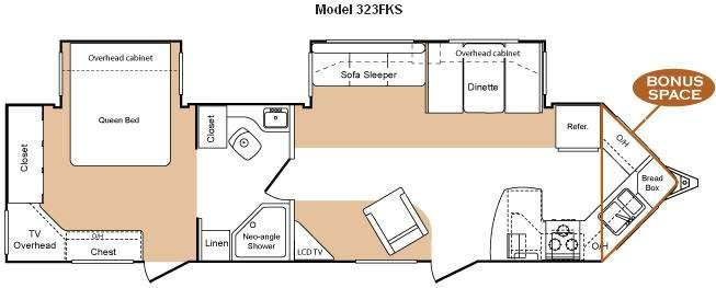 Floorplan - 2009 Keystone RV VR1 323FKS