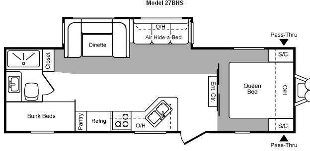 Floorplan - 2009 Keystone RV Hornet 27BHS