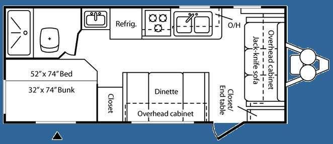 Floorplan - 2008 Keystone RV Hideout 19FLB