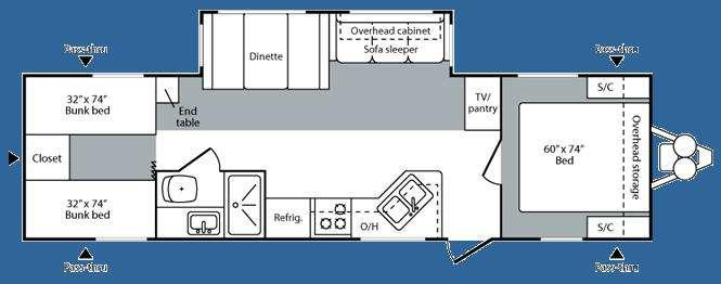 Floorplan - 2008 Keystone RV Hideout 31BHS