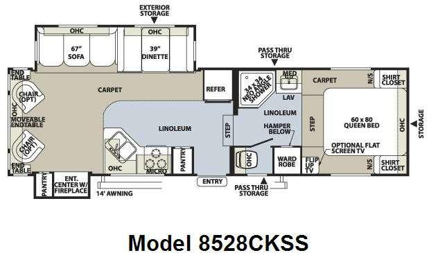 Floorplan - 2009 Forest River RV Flagstaff Classic Super Lite 8528CKSS