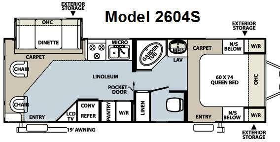 Floorplan - 2008 Forest River RV Rockwood Ultra Lite 2604S