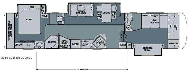 Floorplan - 2009 Newmar Cypress 39CKDB