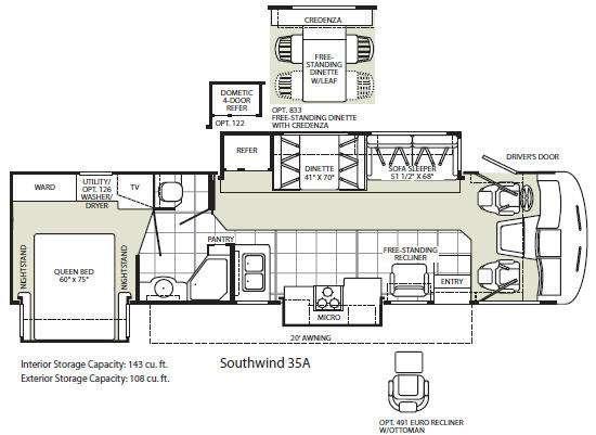 Floorplan - 2009 Fleetwood RV Southwind 35A