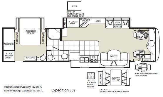 Floorplan - 2009 Fleetwood RV Expedition 38Y