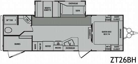 Floorplan - 2009 CrossRoads RV Zinger ZT26BH