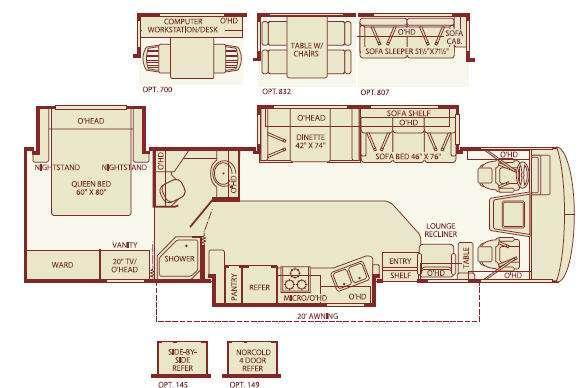 Floorplan - 2005 Fleetwood RV Bounder 34F