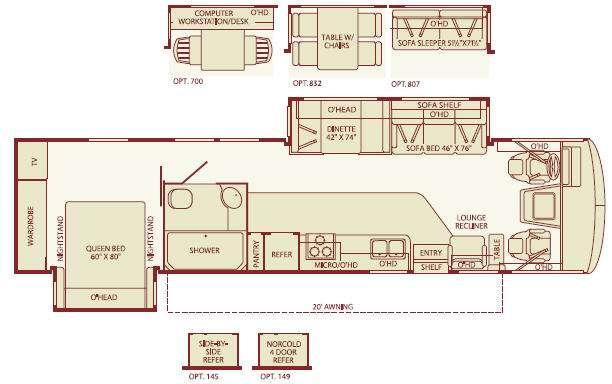 Floorplan - 2005 Fleetwood RV Bounder 36Z