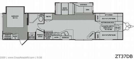 Floorplan - 2009 CrossRoads RV Zinger ZT37DB