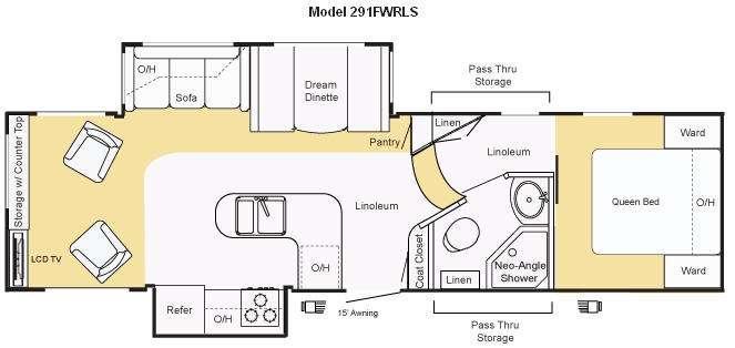 Floorplan - 2009 Keystone RV Sprinter Copper Canyon 291FWRLS