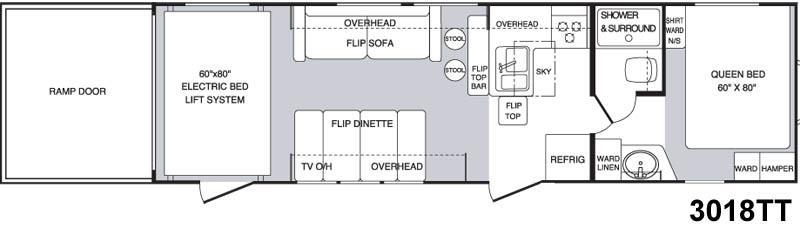 Floorplan - 2005 Keystone RV Raptor 3018TT