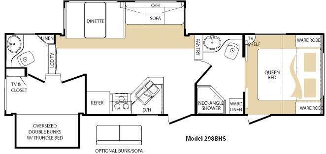 Floorplan - 2010 Keystone RV Cougar 298BHS