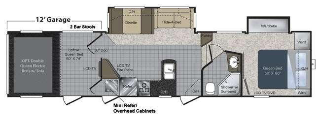 Floorplan - 2010 Keystone RV Raptor 361LEV