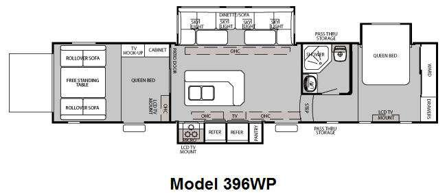Floorplan - 2010 Forest River RV Cherokee Wolf Pack Sport 396WP