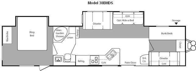 Floorplan - 2010 Keystone RV Hideout 38BHDS