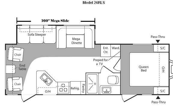 Floorplan - 2010 Keystone RV Hideout 26RLS