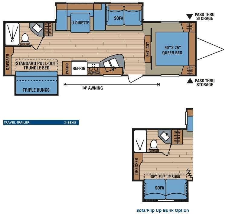 Floorplan - 2010 KZ Spree 318BHS